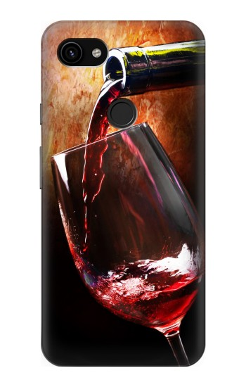 Printed Red Wine Bottle And Glass Google Pixel 3a XL Case