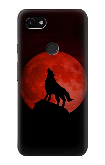 Printed Wolf Howling Red Moon Google Pixel 3a XL Case