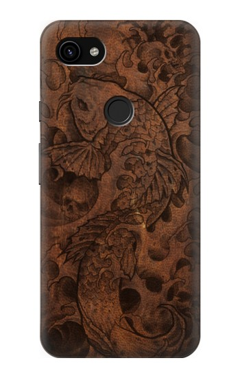 Printed Fish Tattoo Leather Graphic Print Google Pixel 3a XL Case