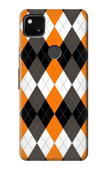 Printed Black Orange White Argyle Plaid Google Pixel 4a Case