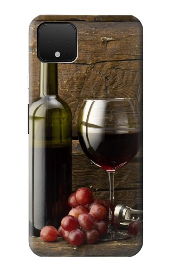 Printed Grapes Bottle and Glass of Red Wine Google Pixel 4 XL Case