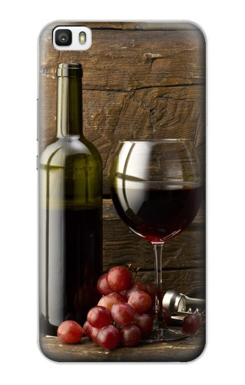 Printed Grapes Bottle and Glass of Red Wine Huawei P8lite Case