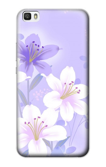 Printed Purple White Flowers Huawei P8max Case