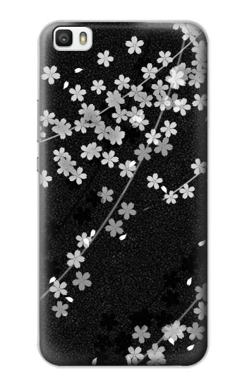 Printed Japanese Style Black Flower Pattern Huawei P8max Case