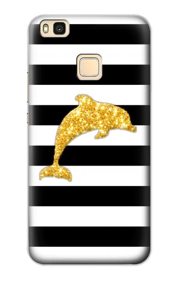 Printed Black and White Striped Dolphin Gold Glitter Huawei P9 Lite / G9 Lite Case