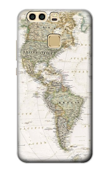 Printed World Map Huawei P9 Plus Case