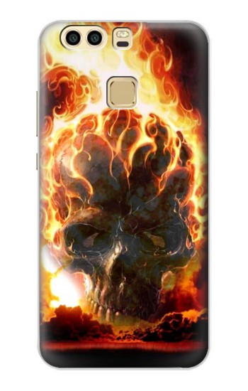 Printed Hell Fire Skull Huawei P9 Plus Case