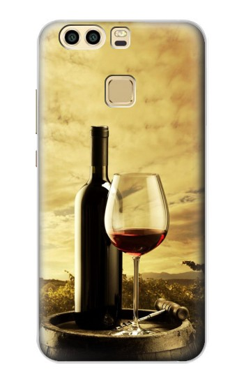 Printed A Grape Vineyard Grapes Bottle and Glass of Red Wine Huawei P9 Plus Case