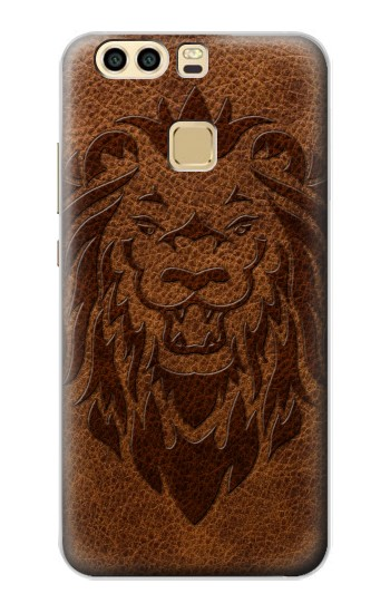 Printed Leo Tattoo Brown Leather Huawei P9 Plus Case