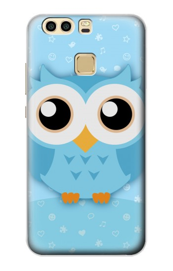 Printed Cute Blue Owl Huawei P9 Plus Case