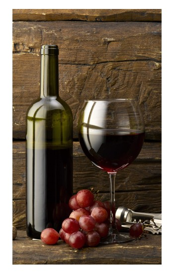 Printed Grapes Bottle and Glass of Red Wine POP Case