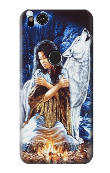 Printed Grim Wolf Indian Girl HTC One S Case