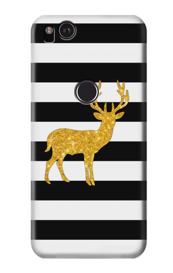 Printed Black and White Striped Deer Gold Sparkles HTC One S Case