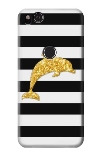 Printed Black and White Striped Dolphin Gold Glitter HTC One S Case