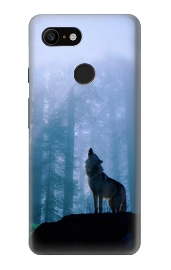 Printed Wolf Howling in Forest Google Pixel 3 Case
