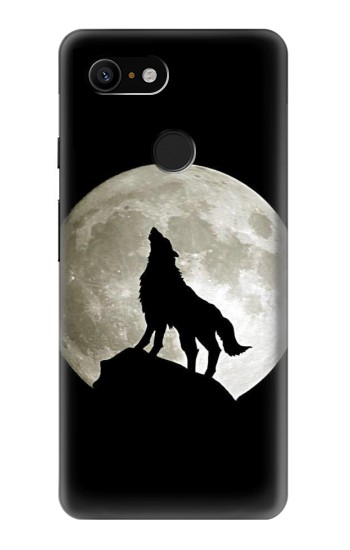 Printed Wolf Howling at The Moon Google Pixel 3 Case