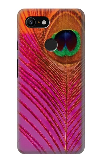 Printed Pink Peacock Feather Google Pixel 3 Case