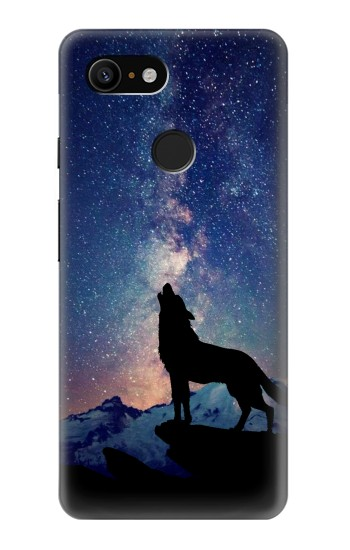 Printed Wolf Howling Million Star Google Pixel 3 Case