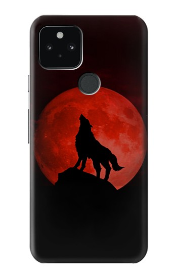 Printed Wolf Howling Red Moon Google Pixel 5 Case