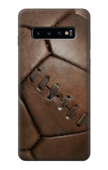 Printed Vintage Genuine Leather Soccer Football Samsung Galaxy S10 Case