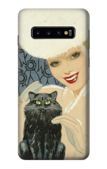 Printed Beautiful Lady With Black Cat Samsung Galaxy S10 Case