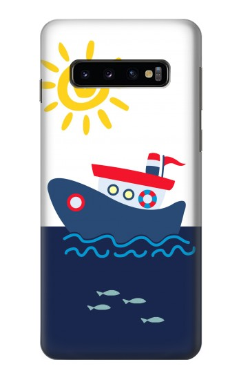 Printed Cartoon Fishing Boat Samsung Galaxy S10 Case