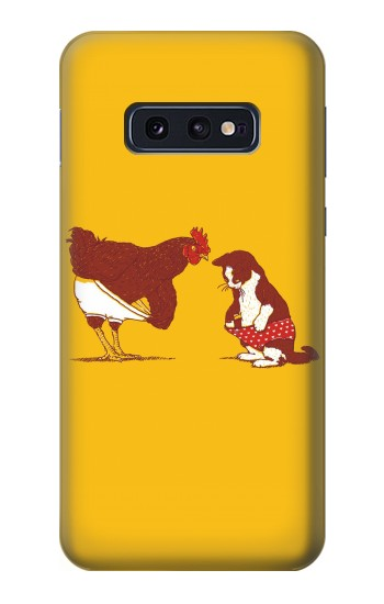 Printed Rooster and Cat Joke Samsung Galaxy S10 Lite, S10e Case