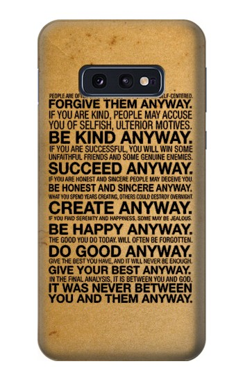 Printed Mother Teresa Anyway Quotes Samsung Galaxy S10 Lite, S10e Case