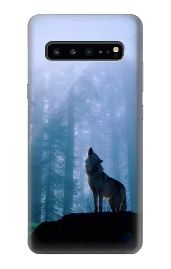 Printed Wolf Howling in Forest Samsung Galaxy S10 5G Case