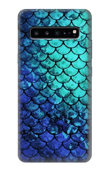 Printed Green Mermaid Fish Scale Samsung Galaxy S10 5G Case