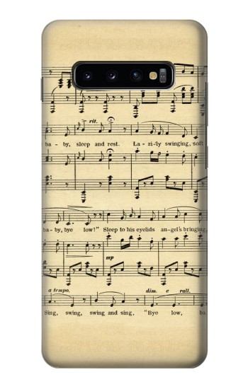 Printed Vintage Music Sheet Samsung  Galaxy S10 Plus Case
