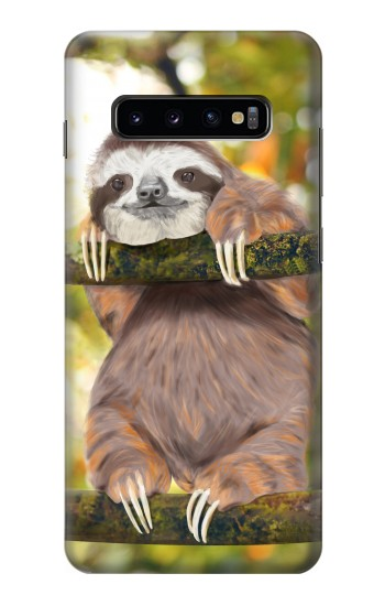 Printed Cute Baby Sloth Paint Samsung  Galaxy S10 Plus Case