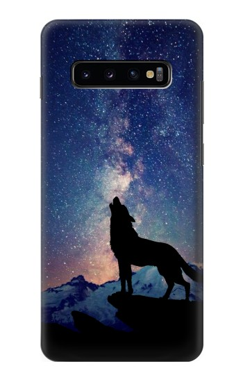 Printed Wolf Howling Million Star Samsung  Galaxy S10 Plus Case
