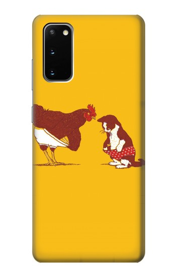 Printed Rooster and Cat Joke Samsung Galaxy S20 Case