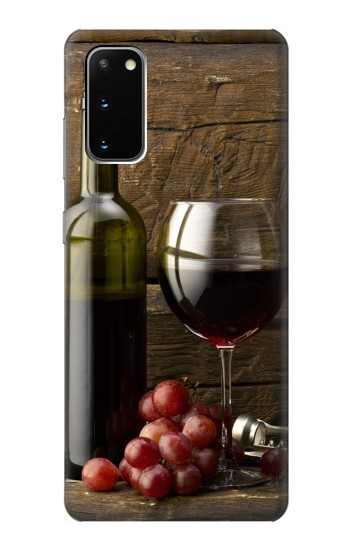 Printed Grapes Bottle and Glass of Red Wine Samsung Galaxy S20 Case