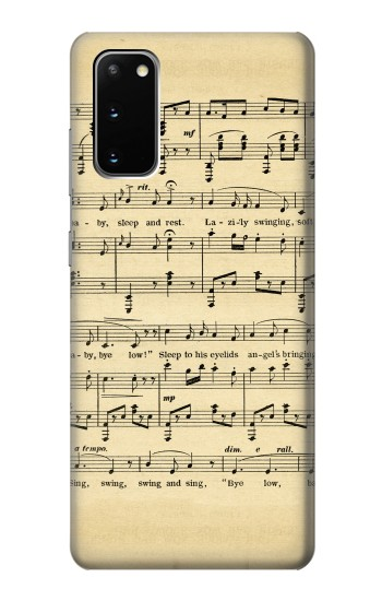 Printed Vintage Music Sheet Samsung Galaxy S20 Case