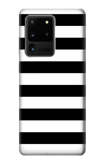 Printed Black and White Striped Samsung Galaxy S20 Ultra Case
