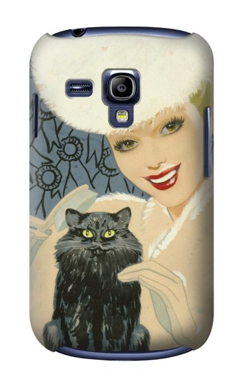 Printed Beautiful Lady With Black Cat Samsung Galaxy S3 mini Case