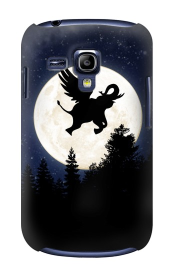 Printed Flying Elephant Full Moon Night Samsung Galaxy S3 mini Case