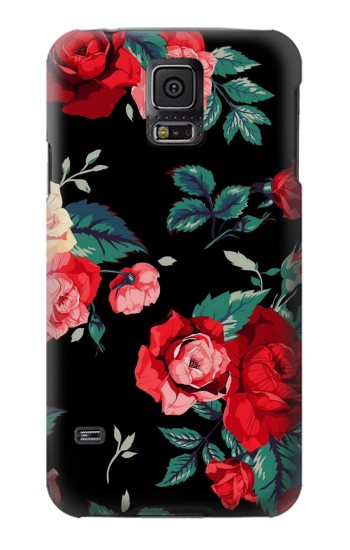 Printed Rose Floral Pattern Black Samsung Galaxy S5 mini Case
