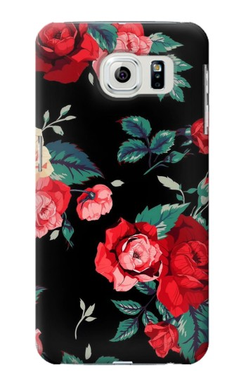 Printed Rose Floral Pattern Black Samsung Galaxy S6 edge Case