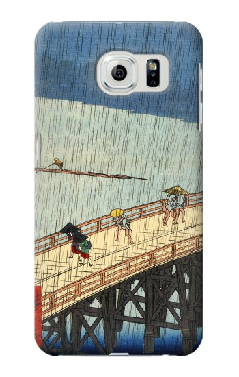 Printed Utagawa Hiroshige Sudden shower over Shin Oashi bridge and Atake Samsung Galaxy S6 edge Case
