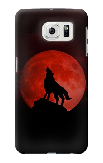 Printed Wolf Howling Red Moon Samsung Galaxy S7 edge Case