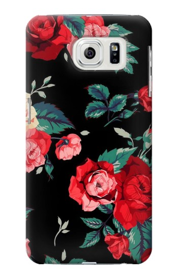 Printed Rose Floral Pattern Black Samsung Galaxy S7 edge Case