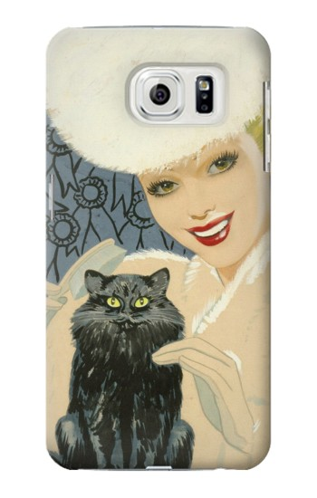 Printed Beautiful Lady With Black Cat Samsung Galaxy S7 edge Case
