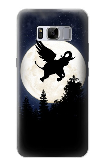 Printed Flying Elephant Full Moon Night Samsung Galaxy S8+ Case
