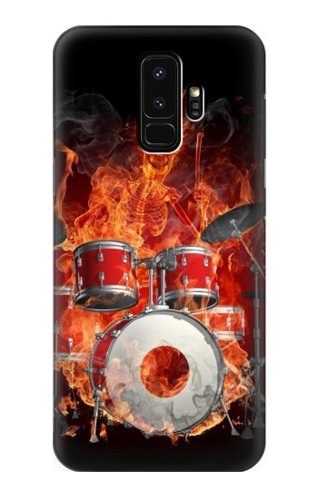 Printed Skull Drum Fire Rock Samsung Galaxy S9+ Case