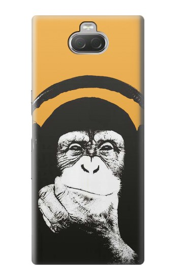 Printed Funny Monkey with Headphone Pop Music Sony Xperia 10 Case