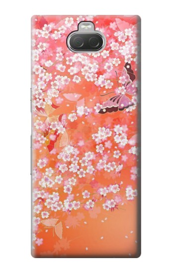 Printed Japanese Style Flower Pattern Sony Xperia 10 Case