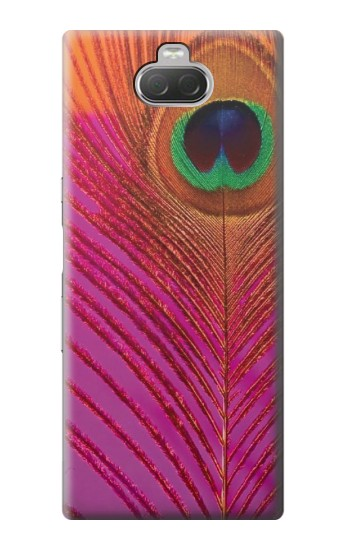 Printed Pink Peacock Feather Sony Xperia 10 Case